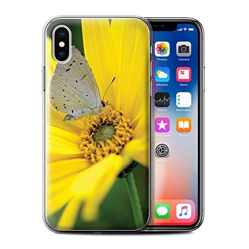 Stuff4 Gel TPU Hülle / Case für Apple iPhone X/10 / Pinke Blume Muster / Englische Gärten Kollektion Schmetterling