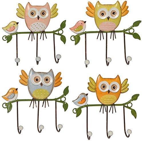 4 Stück: Garderobenhaken Eulen aus Metall - Wandhaken Kindergarderobe mit 3 Kleiderhaken Kind Wandgarderobe - für Innen und Außen - bunte Eule Vögel Tiere