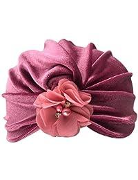 Webla 1 Pc Nouveau-Né Enfants Bébé Garçon Fille Coton Fleur Turban Bonnet  Chapeau Chapeau Casquette Couvre-Chef Chapeaux pour… c1ea643c818
