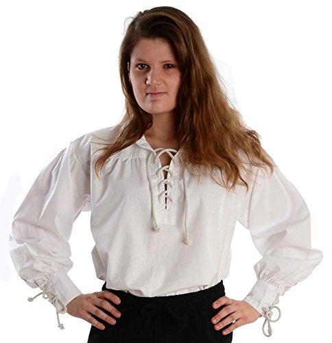 Bluse Rüschen Pirat (Kragen-Schnürbluse Piraten-Bluse weiß L)