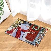 Sunnymi Schneemann Stil Weihnachten Küche Badezimmer WC Rutschfester Sockel  Teppich Vorleger,Wasser Dämpfung Badvorleger Flanell