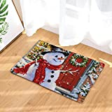 sunnymi Schneemann Stil Weihnachten Küche Badezimmer WC Rutschfester Sockel Teppich Vorleger,Wasser Dämpfung Badvorleger Flanell (40 * 60 cm, I)