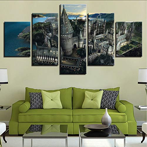 (Wuwenw Modern Framed Wall Art Modular New Classics Pictures 5 Pieces Castle Landscape Hd Printed Painting Canvas Home Decor Living Room,16X24/32/40Inch,Without Frame)