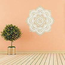 Logobeing Pegatina de Pared de Vinilo Ventana de Vista de Etiqueta Adhesiva Sala de Arte Decal Mural Decoración Para el Hogar(Mandala Flor Indio Dormitorio Pared Calcomanía ) (D)