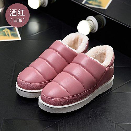 DogHaccd pantofole,Le coppie pelle pu cotone impermeabile pantofole uomini e high-pack con un soggiorno invernale indoor, caldo scarpe eleganti Il vino è di colore rosso su bianco.2