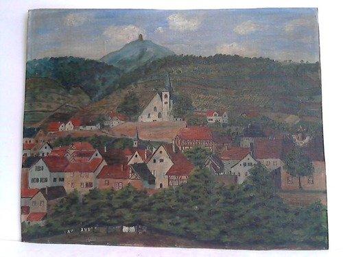Zwingenberg (Bergstraße), Blick auf die Stadt mit ihren zahlreichen Fachwerkhäusern und die Bergkirche - Öl auf Malkarton