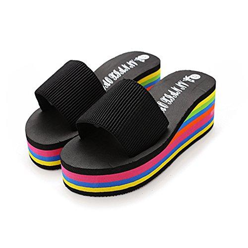 Estate piattaforma Skid pantofole tacco alto sandali e pantofole, Black, 38