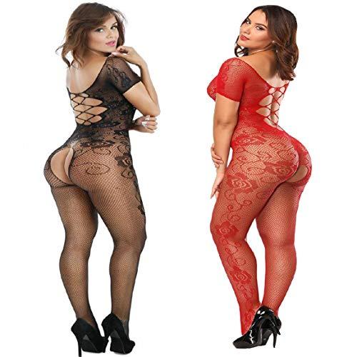 Amoure 2 Pack Damen Unterwäschen Reizwäsche Netz Strumpfhose Bodystockings Hohle Blumen Frauen Bodysuit Nachtwäsche Dessous (Schwarz+Rot) - Roter Bodystocking