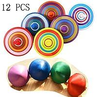 BIEE 12 Piezas Colorido Tradicional Pequeño de Madera Spinning Tops Juguete para Niños (Color Aleatorio)