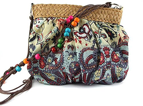 Crossbody Strohbeutel Stickerei Stitching Handtaschen Farbe Outdoor gewebte Frauen Strick Tasche Freizeit Reise Strandtasche Blue