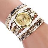 Leneomstore Robustes Material Geflochtene Wickel Wrap Leopard Armbanduhr Quarz Armbanduhr für Frauen