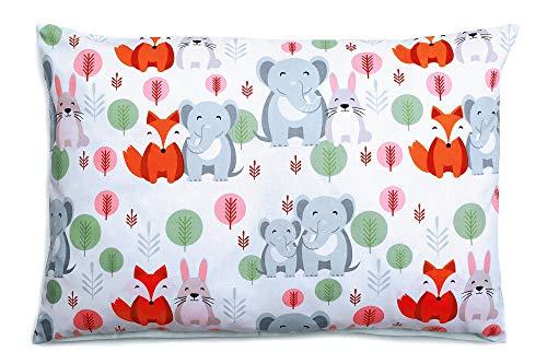 Kissenbezug Kissenhülle 40x60 cm mit Reißverschluss aus 100% Baumwolle, hergestellt in Europa (Elefanten) -