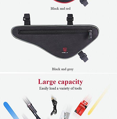 LJ Sport Fahrrad Triangle Bag große Kapazität Tasche Sattel Rahmen Schwarz+Grau