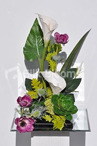 tropical-white-calla-lily-plum-anemone-and-green-succulent-floral-arrangement