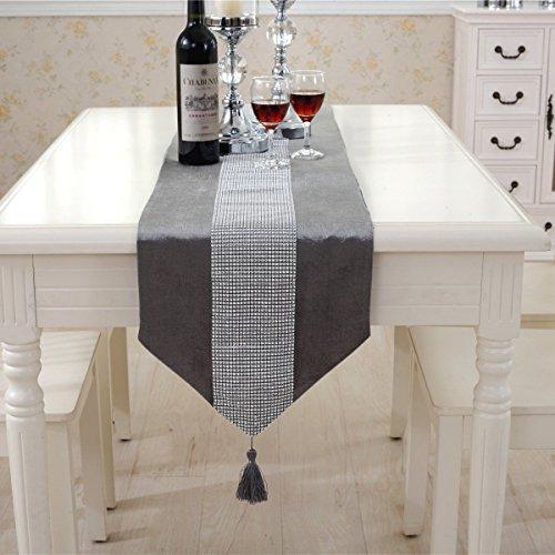 DegGod Luxus Samt stilvolle atmosphäre minimalistischen modernen Diamanten Tischläufer / Tischdecke Couchtisch Tuch und zwei Quasten (32 x 185 cm) (Silber) - 2
