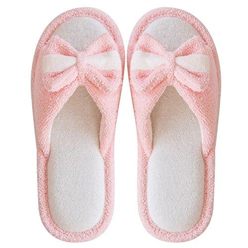 fankou In primavera ed estate le coppie soggiorno biancheria pantofole femmina interni domestici di spessore di biancheria in cotone traspirante cool pantofole uomini non-slip,36-37, rosa