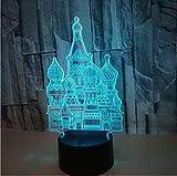 Elegante Tischleuchte 3D Kleine Nachtlichter Schloss Bunte USB Touch Fernbedienung Schalter Optische Täuschung Schreibtischlampe Dekoration Umweltfreundliche Schreibtischlampe