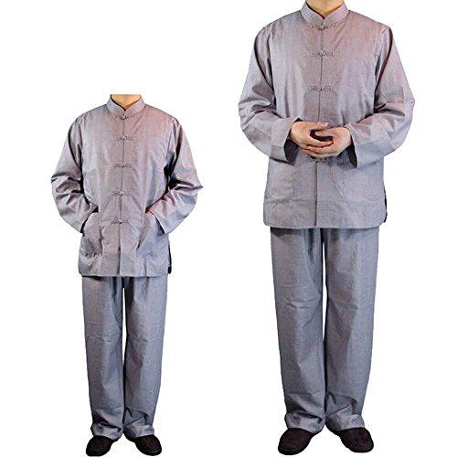 ZooBoo Buddistische Mönche Laien Kostüme - Chinesische Traditionelle Religionen Buddhismus Taoismus Kleidung Kampfkunst Shaolin Kung Fu Langärmelige Robe Stehkragen Uniform Anzug für Männer Frauen (Grau, ()