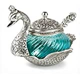 Lakecity Arts Oxidized White Metal China Duck Bowl In Blue Color