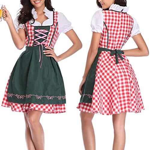 WQIANGHZI Oktoberfest Damen,Beer Festival Dienstmädchen Kostüm Karo Kleid Schürze Set 2 STÜCK Frauen Bandage Piaid Bayerischen Bierfest Kostüme Barmaid Dirndl - Dienstmädchen Kostüm Muster