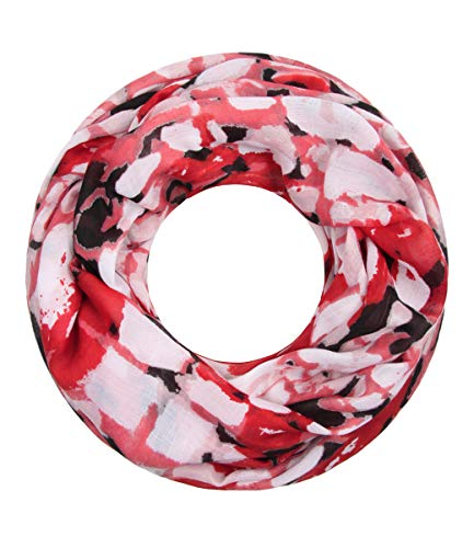 Majea NEUE Saison Damen Loop Schal viele Farben Muster Schlauchschal Halstuch in aktuellen Trendfarben (rot 21)