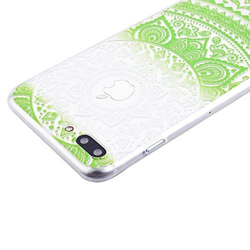 SMART LEGEND iPhone 7 Weiche Silikon Hülle Bumper Schutzhülle Transparent Hülle mit Mandala Blumen Muster Handyhülle Crystal Schutzhülle Kirstall Clear Etui Ultra Slim Durchsichtig Weich TPU Handytasc Grün