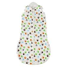 Happy Cherry Baby Sommer Swaddle mit Zip Säugling Unisex Schlafsack Ganzkörper Baumwolle Süß Musterdruck Infant Swaddle Baby Decke Für Schlaf (Fußabdruck) 30 * 78cm Geeigenet für 0-12 Monate