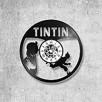 Horloge murale en vinyle 33 tours fait-main/thème tintin, BD, milou, castafiore, dupont