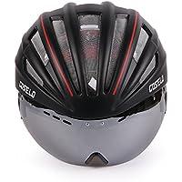 Costelo Casco bicicletta MTB bici da strada casco occhiali lenti Casco Speed airospeed, Black, 55-60cm