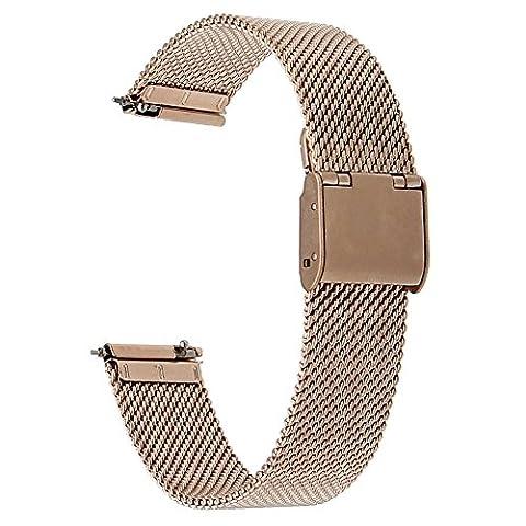 TRUMiRR 16mm Bracelet en Acier Inoxydable Milanese pour Moto 360