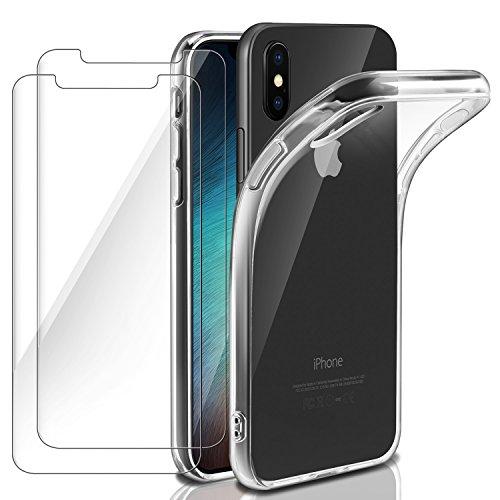 Ivencase cover iphone xs, iphone x custodia silicone + 2pc pellicola protettiva in vetro temperato morbido tpu flessibile trasparente custodia sottile cover per iphone x/iphone xs
