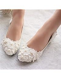 JINGXINSTORE Zapatos nupciales de la boda del cordón blanco de la perla de las mujeres hechas a mano, UK6, plano