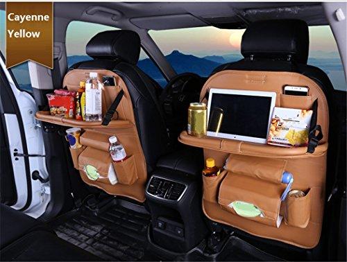 ZHCJH PU-Leder Auto Rücksitz-Organizer,Falten Wasserdicht Premium Rückenlehnenschutz, Kick-Matten-Schutz In Universeller Passform(2Pcs),Yellow - Kick Falten