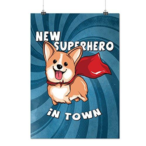 Corgi Superheld Komisch Mattes/Glänzende Plakat A4 (30cm x 21cm) | Wellcoda
