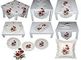 Espamira Tischdecke Tischläufer Creme Stickerei MOHN Tischdekoration Mitteldecke Sommer Herbst (Tischläufer 45x130 cm) - 4