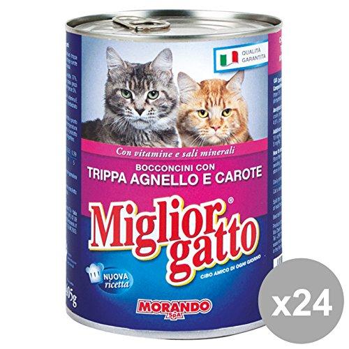 Set 24 MIGLIOR GATTO 405 Gr. Umido Bocconcini Trippa-Agnello -CAR. Cibo per gatti