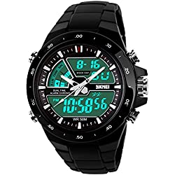 SKMEI 50M Waterproof Analogue Digital LCD Multifunctional Mens Sports Watch Black