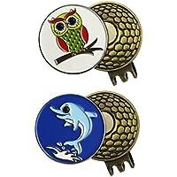2juegos de marcadores para pelotas de Golf con clip de gorra - Variado, colorido, bonito, fuerte, OWL and DOLPHIN