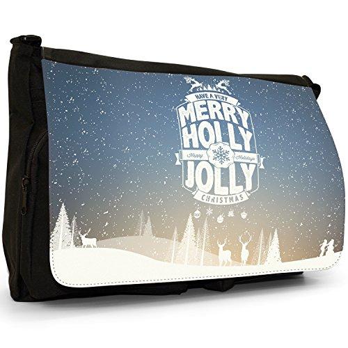 Neve Tipografia auguri di Natale Grande borsa a tracolla Messenger Tela Nera, scuola/Borsa Per Laptop Happy Jolly Holly Christmas