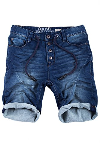Sublevel Jogg Jeans Shorts Herren Kurze Hose Denim Sommer Jogger Bermuda Chino (Dunkelblau, W31)
