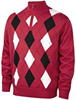 Cypress Point Mens Jacquard 1/2 Zip Neck Lined Windproof Golf Sweater
