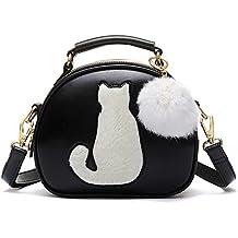 b947955d77 le donne pu cuoio round Borse a mano borsa Spalla Della Borsa cartella gatto  carino portafoglio