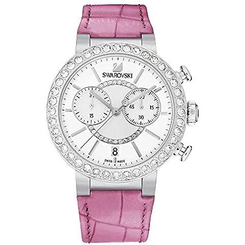 Swarovski Women's 38mm Chronograph Pink Calfskin Mineral Glass Watch 5096008
