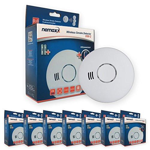Nemaxx 7HW2 7X HW-2 Funkrauchmelder-hochwertiger Rauchmelder mit kombiniertem Rauch-und Thermosensor-Hitzemelder nach DIN EN 14604, 7 Stück