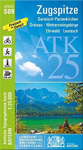 ATK25-S09 Zugspitze (Amtliche Topographische Karte 1:25000): Garmisch-Partenkirchen, Grainau, Wettersteingebirge, Ehrwald, Leutasch (ATK25 Amtliche Topographische Karte 1:25000 Bayern) - Breitband-geräte