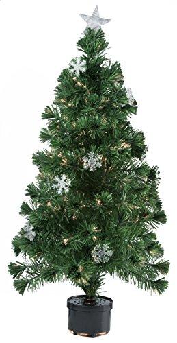 Bakaji Albero Di Natale In Fibra Ottica Modello SNOW Alto 60 m Con 60 Punte Luminose e 9 Fiocchi Di Neve Colore Verde