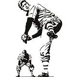 Jugador de beisbol deportes y pasatiempos arte de pared arte de pared adhesivo 02 - 50cm Altura - 50cm Ancho - Negro Vinilo