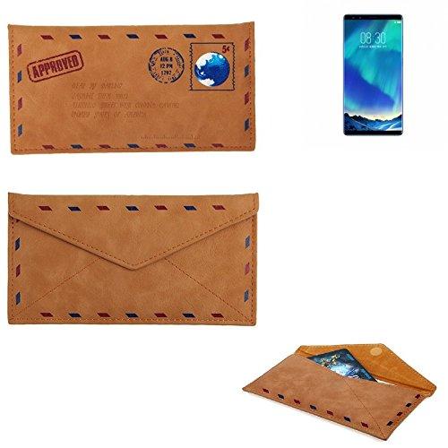 K-S-Trade Für Nubia Z17 S Kunstleder Handyhülle Schutz Hülle für Nubia Z17 S in braun. Briefumschlagoptik Slim case Cover Pouch für Handys/Smartphones Bookstyle Wallet Case