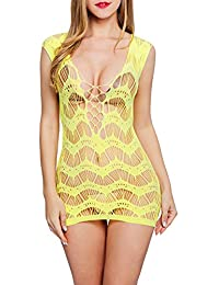 Utimi Sexy Lingerie Babydoll Vestito da Notte Esotico per Donne Unico Pezzo Elastico Design Trasparente, XXL