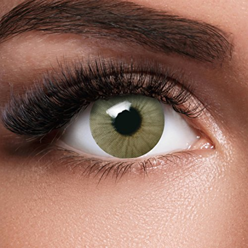 GLAMVUE Sydney Green + Behälter I Sehr stark deckende natürliche grüne Kontaktlinsen farbig I 1 Paar (2 Stück) I DIA 14.00 I ohne Stärke